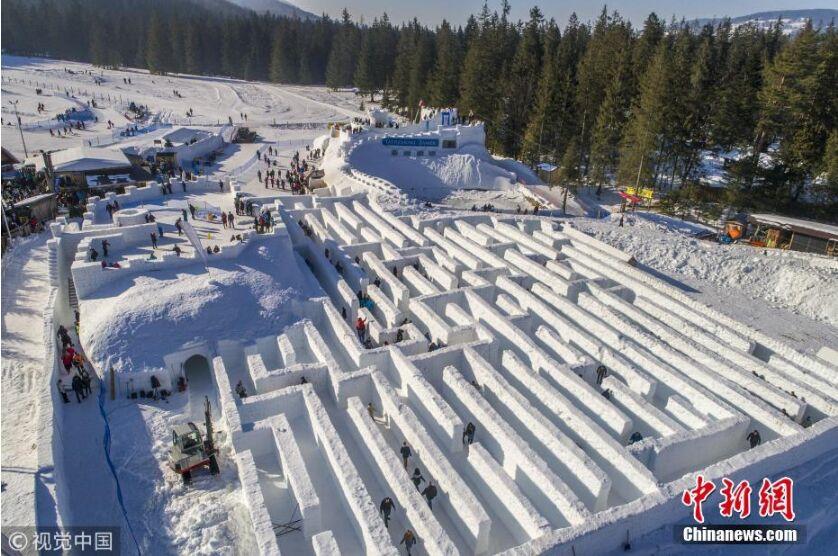 冬天新玩法!波兰打造世界最大冰雪迷宫