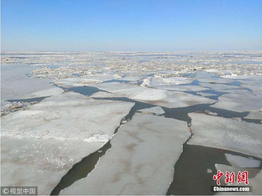 渤海湾结冰 一眼望去如两极冰原